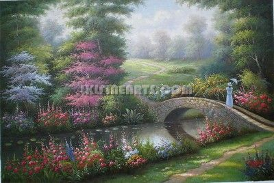 Scenery Series Thomas Kinkade Lady With Umbrella
